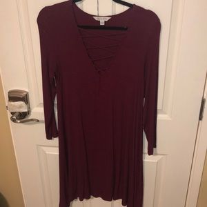American Eagle Outfitters Dresses - 3/4 sleeve maroon dress